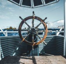 ship's wheel on a boat